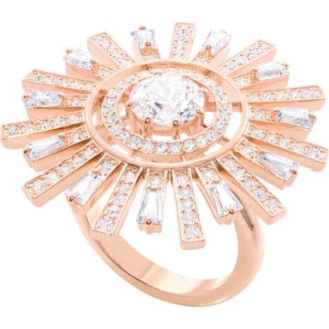Sunshine Kokteyl Yüzüğü, Beyaz, Pembe altın rengi kaplama - Swarovski, 5470397
