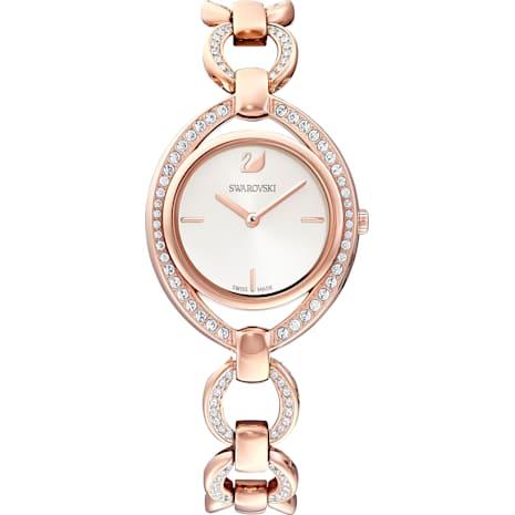 Orologio Stella, Bracciale di metallo, bianco, PVD oro rosa - Swarovski, 5470415