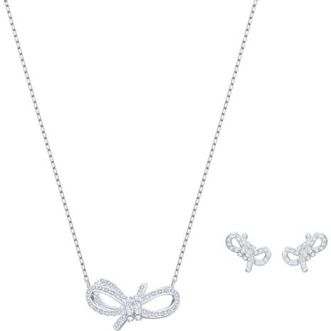 Lifelong Bow Set, White, Rhodium plated - Swarovski, 5470594