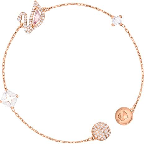 Dazzling Swan 手鏈, 多色設計, 鍍玫瑰金色調 - Swarovski, 5472271