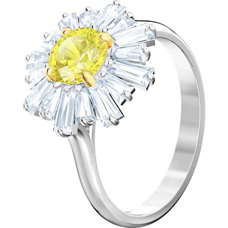 Anillo Sunshine, amarillo, Baño de Rodio - Swarovski, 5472481