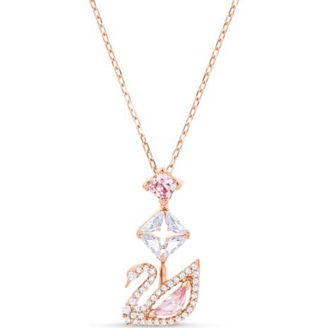 Dazzling Swan Y Necklace, Multi-coloured, Rose-gold tone plated - Swarovski, 5473024
