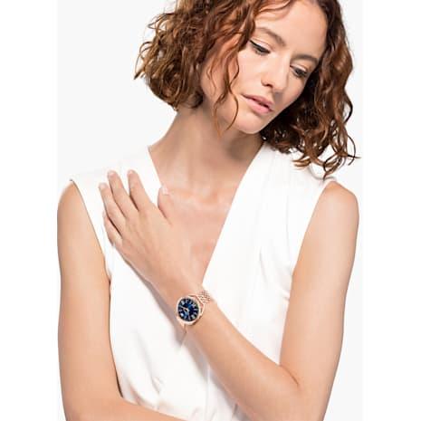 Crystalline Glam Uhr, Metallarmband, blau, Rosé vergoldetes PVD-Finish - Swarovski, 5475784