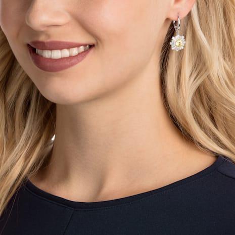 Sunshine Pierced Earrings, White, Rhodium plated - Swarovski, 5479914