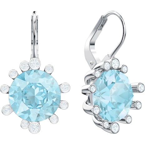 Boucles d'oreilles Olive, aiguemarine turquoise, Métal rhodié - Swarovski, 5479927