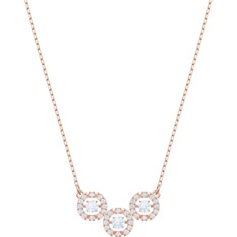 Swarovski Sparkling Dance Trilogy Necklace, White, Rose-gold tone plated - Swarovski, 5480482