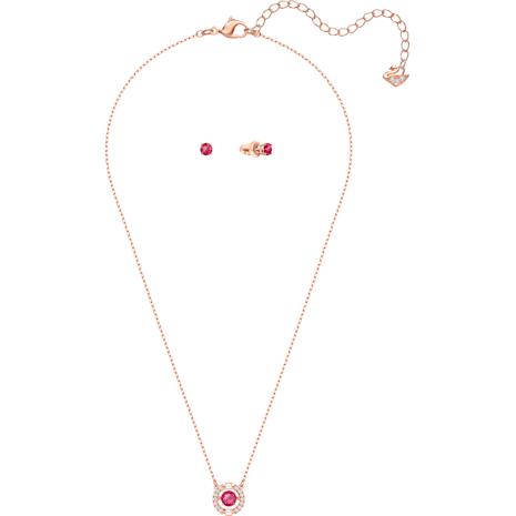 Swarovski Sparkling Dance Round 套裝, 紅色, 鍍玫瑰金色調 - Swarovski, 5480494