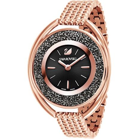 Montre Crystalline Oval, Bracelet en métal, noir, PVD doré rose - Swarovski, 5480507