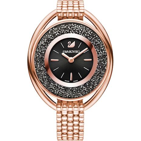 Crystalline Oval Часы, Металлический браслет, Черный Кристалл, PVD-покрытие оттенка розового золота - Swarovski, 5480507