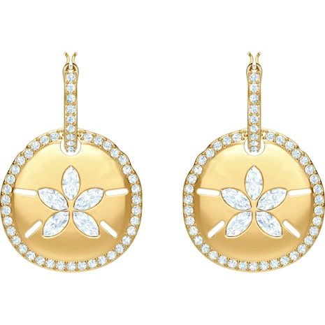 Ocean Sand Coin Pierced Earrings, White, Gold-tone plated - Swarovski, 5480783