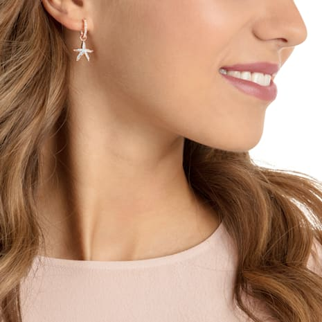 Ocean Crab Pierced Earrings, White, Rose-gold tone plated - Swarovski, 5480784