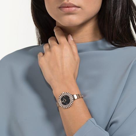 Crystal Rose Saat, Metal bileklik, Siyah, Pembe altın rengi PVD - Swarovski, 5484050