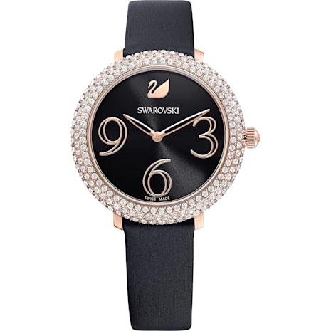 Montre Crystal Frost, Bracelet en cuir, noir, PVD doré rose - Swarovski, 5484058