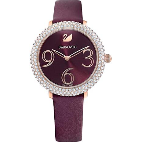 Reloj Crystal Frost, Correa de piel, rojo oscuro, PVD en tono Oro Rosa - Swarovski, 5484064