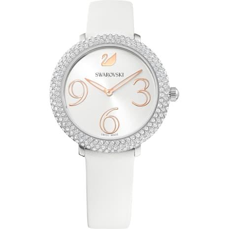 Reloj Crystal Frost, Correa de piel, blanco, acero inoxidable - Swarovski, 5484070