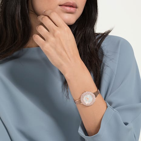 Crystal Rose Watch, Metal Bracelet, White, Rose-gold tone PVD - Swarovski, 5484073