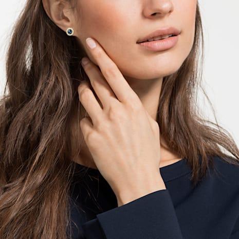 Millennium Stud Pierced Earrings, Blue, Gold-tone plated - Swarovski, 5484167