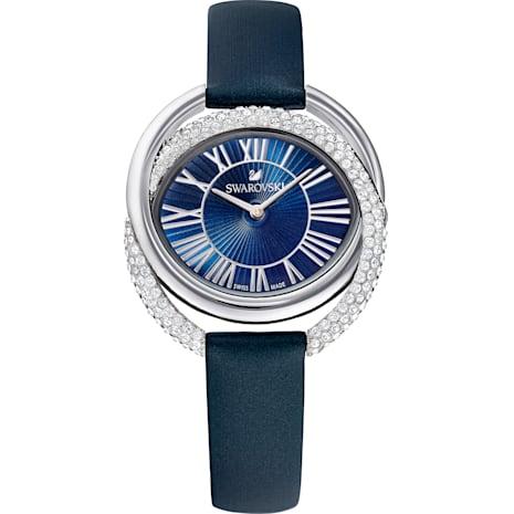 Duo Saat, Deri kayış, Mavi, Paslanmaz çelik - Swarovski, 5484376
