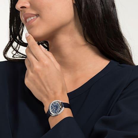 Duo Watch, Leather strap, Blue, Stainless steel - Swarovski, 5484376