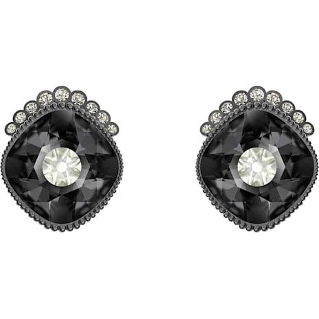Black Baroque Stud Pierced Earrings Dark Gray Ruthenium Plated