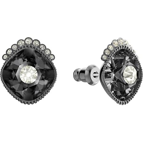 Black Baroque Stud Pierced Earrings, Dark gray, Ruthenium plated - Swarovski, 5485656