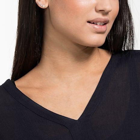Penélope Cruz Moonsun Pierced Earrings, White, Rose-gold tone plated - Swarovski, 5486352