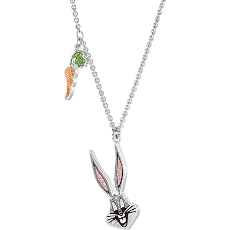 Looney Tunes Bugs Bunny Pendant, Multi-coloured, Rhodium plated - Swarovski, 5487626