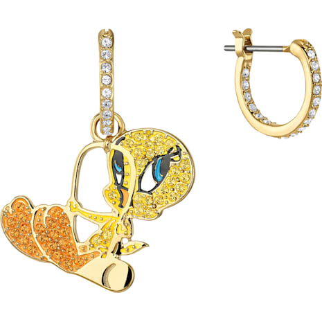 Looney Tunes 翠兒 穿孔耳環, 多色設計, 鍍金色色調 - Swarovski, 5487637