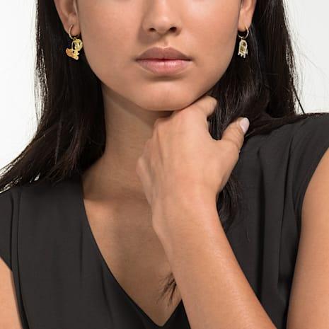 Looney Tunes Tweety Hoop Pierced Earrings, Multi-coloured, Gold-tone plated - Swarovski, 5487637