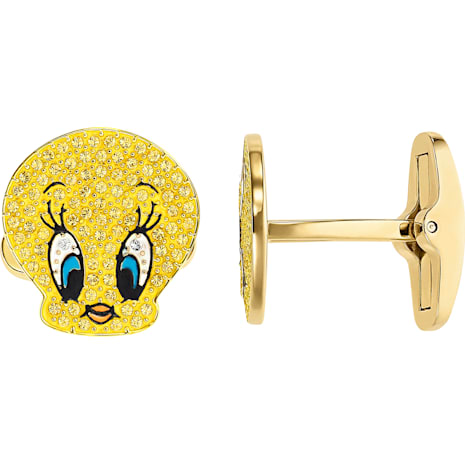 Looney Tunes Tweety Cuff Links, Yellow, Gold-tone plated - Swarovski, 5488598
