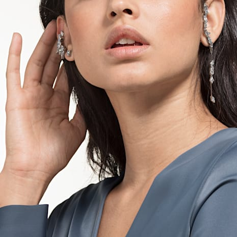 Ice Crack Ear Cuff, White, Ruthenium plated - Swarovski, 5489075