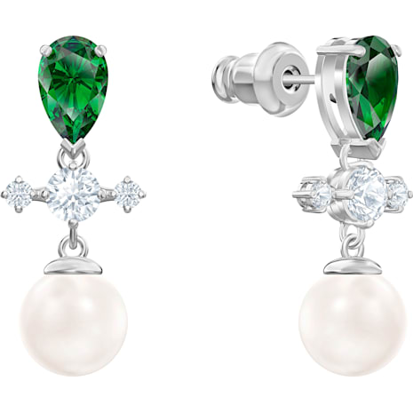 Perfection Drop Pierced Earrings, Green, Rhodium plated - Swarovski, 5489440
