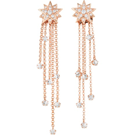 Penélope Cruz Moonsun Strand Pierced Earrings, Limited Edition, White, Rose-gold tone plated - Swarovski, 5489761