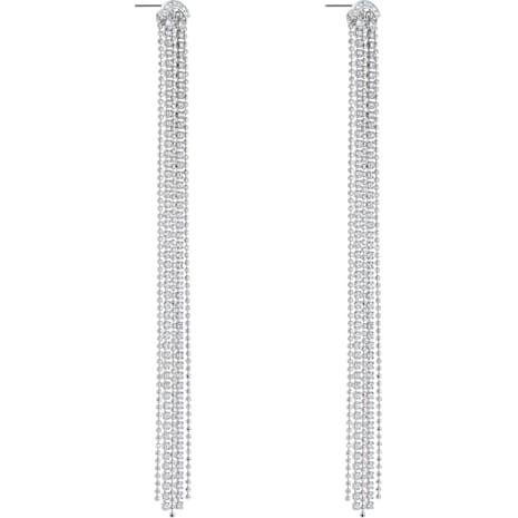 Pendientes Tassell Fit, blanco, Baño de Rodio - Swarovski, 5490190