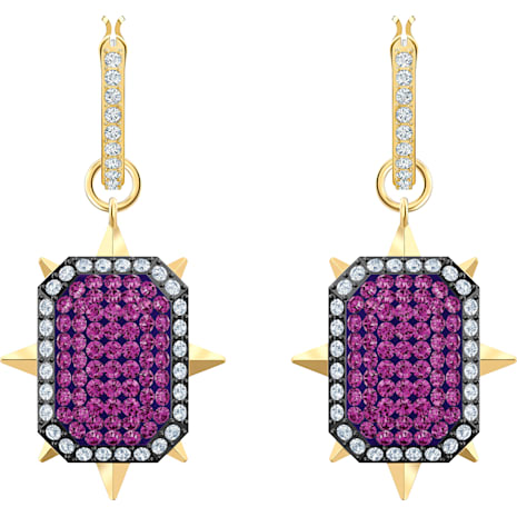 Tarot Magic Hoop Pierced Earrings, Purple, Gold-tone plated - Swarovski, 5490915