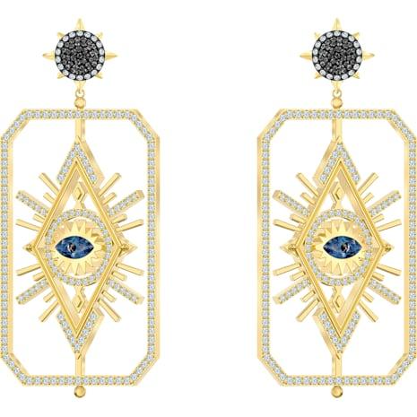 Tarot Magic Pierced Earrings, Multi-colored, Gold-tone plated - Swarovski, 5490920