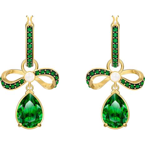 Black Baroque Hoop Pierced Earrings, Green, Gold-tone plated - Swarovski, 5490978