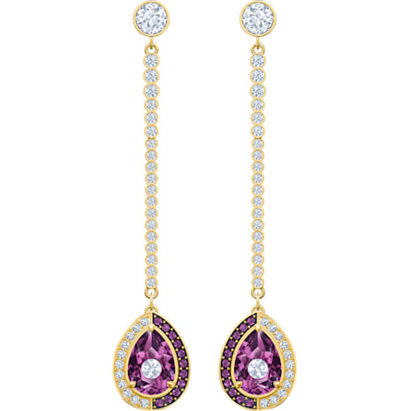 Black Baroque Drop Pierced Earrings, Purple, Gold-tone plated - Swarovski, 5490983