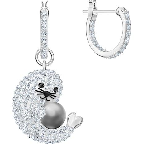 Polar Hoop Pierced Earrings, Multi-colored, Rhodium plated - Swarovski, 5491550
