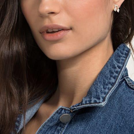 Pleasant Pierced Earrings set, White, Gold-tone plated - Swarovski, 5491659