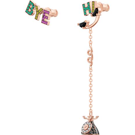 Play Asymetric Pierced Earrings, Multi-coloured, Rose-gold tone plated - Swarovski, 5492810