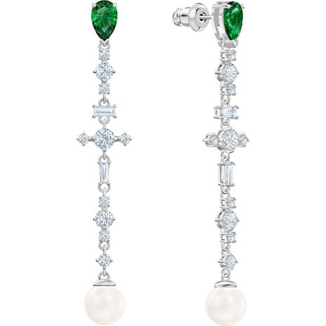 Boucles d'oreilles Perfection, vert, Métal rhodié - Swarovski, 5493098