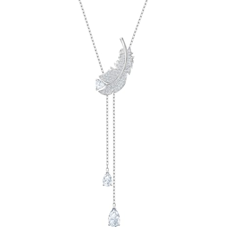 Nice Y Necklace, White, Rhodium plated - Swarovski, 5493397