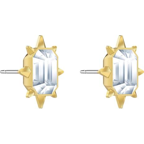 Boucles d'oreilles clous Tarot Magic, blanc, Métal doré - Swarovski, 5494019