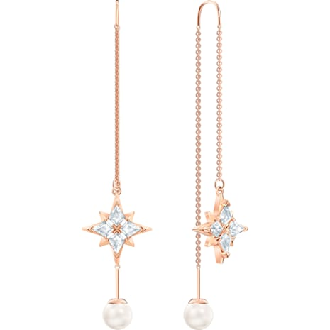 Boucles d'oreilles chaîne Swarovski Symbolic, blanc, Métal doré rose - Swarovski, 5494344