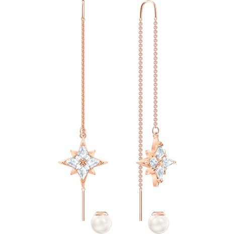 Swarovski Symbolic Chain Pierced Earrings, White, Rose-gold tone plated - Swarovski, 5494344