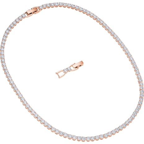 Tennis Deluxe Halskette, weiss, Rosé vergoldet - Swarovski, 5494607