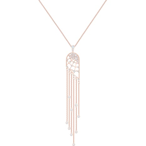 Precisely Necklace, White, Rose-gold tone plated - Swarovski, 5496492