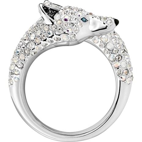 Polar Bestiary Wolf Cocktail Ring, Multi-coloured, Rhodium plated - Swarovski, 5497659