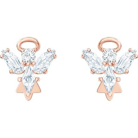Boucles d'oreilles clous Magic Angel, blanc, Métal doré rose - Swarovski, 5498971
